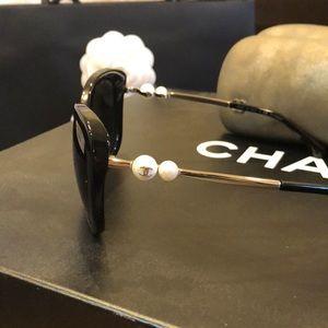 Chanel Black Polarized Pearl Square Sunglass 5339